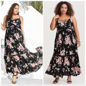 Torrid Black Floral Tassel Maxi Dress Size 2